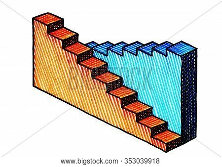 Freehand Drawing Of Two Three Dimensional Bar Charts. The Orange Graph Is Descending, The Blue Chart