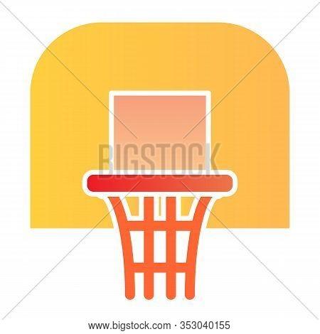 Basketball Hoop Flat Icon. Basketball Ring Vector Illustration Isolated On White. Basketball Net Gra