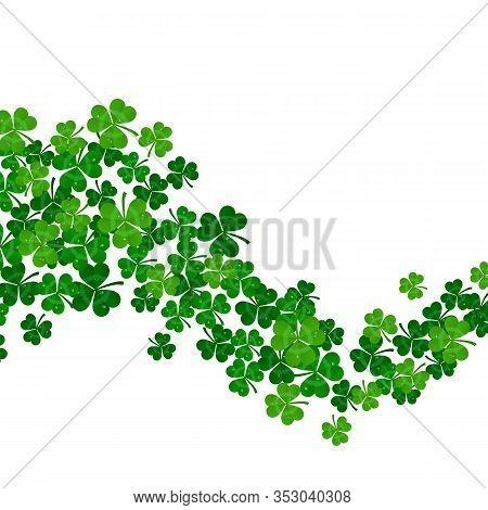 Vector Green Shamrocks Wave On White Background
