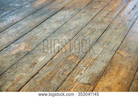 Painted Rough Wood. Beautiful Old Wooden Floor Background In Perspective.