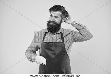 Lactose. Gourmet Product. Cheesemaking Concept. Cheese Maker. Bearded Man In Apron Hold Piece Cheese