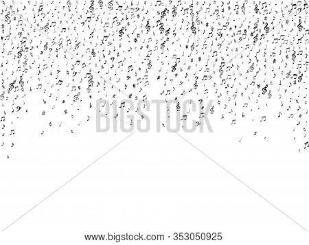 Black Flying Musical Notes Isolated On White Background. Stylish Musical Notation Symphony Signs, No