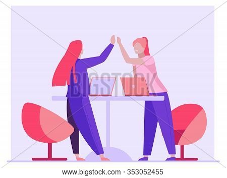 Business Colleagues Celebrating Success. Women With Laptops Giving High Five Flat Vector Illustratio