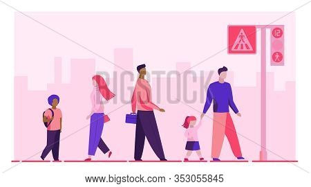 Pedestrians Crossing Street. Crosswalk, Road Sign, Traffic Light Flat Vector Illustration. City, Urb