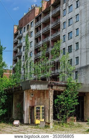 Abandoned Buildings And Phonebox In The Centre Of Ghost Town Pripyat Chornobyl Zone