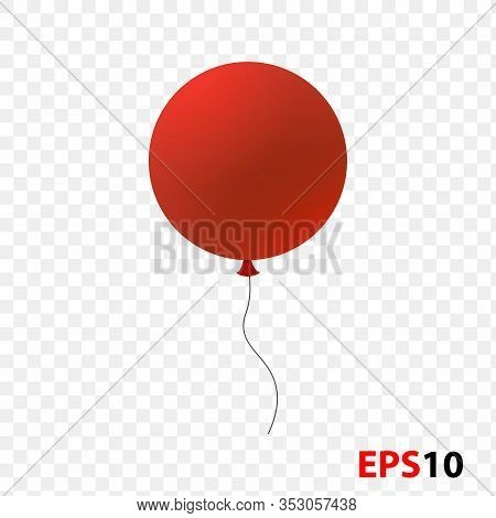 Ballon Realistic Red Isolated On A Transparent Background.design Element For Celebration, Kids Desig