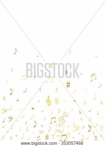 Gold Flying Musical Notes Isolated On White Backdrop. Metallic Musical Notation Symphony Signs, Note