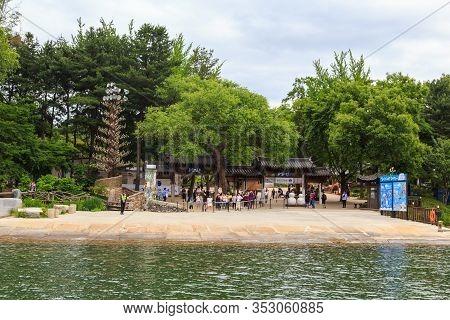 Chuncheon, South Korea - June 08, 2018: Tourists Enjoying The Tree-lined Trails Of Nami Island (nami