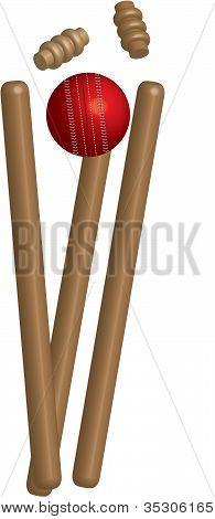 Cricket Ball & Wickets,Vector Design