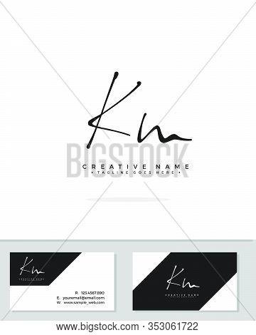 K M Km Initial Logo Signature Vector. Handwriting Concept Logo.