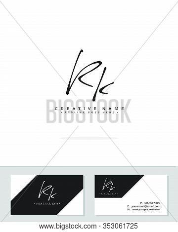 R K Rk Initial Logo Signature Vector. Handwriting Concept Logo.