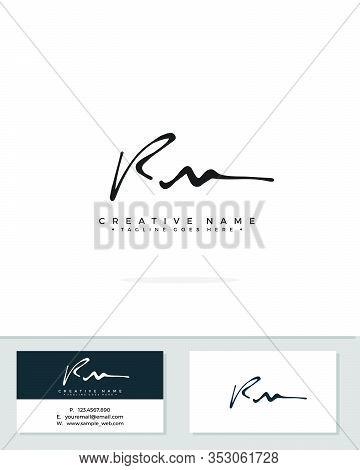 R M Rm Initial Logo Signature Vector. Handwriting Concept Logo.