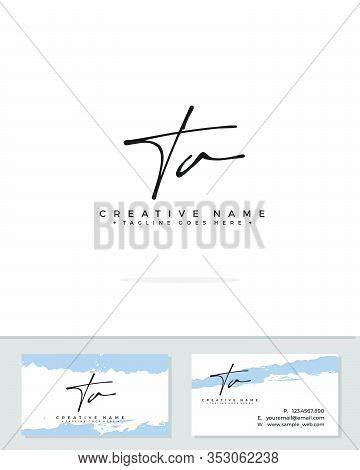 T A Ta Initial Logo Signature Vector. Handwriting Concept Logo.