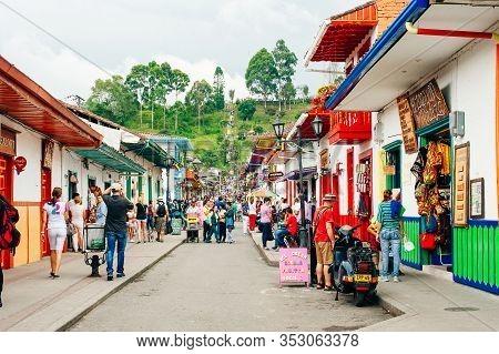 Salento, Colombia - April 2019 View Of Streets In Salento, In The Coffee Region In Quindio, Colombia