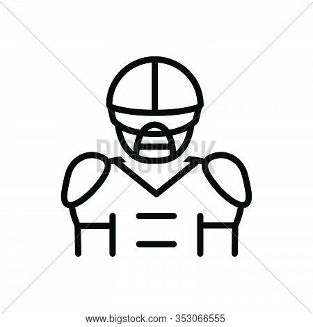 Black Line Icon For Quarterback Rugby Player Tackle Goal Athlete Helmet Sport