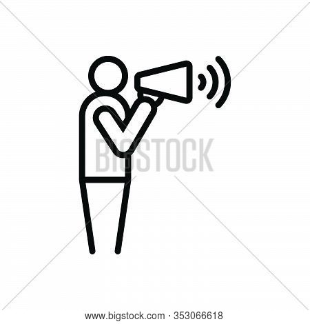 Black Line Icon For Yell Shout Exclaim Scream Bawl Cry Megaphone Announce Advertising