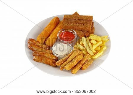 Hot Appetizer Croutons From Rye Bread, A Set Of Chicken Nuggets, Sausages, Cheese Sticks In Breading