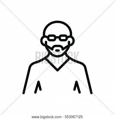 Black Line Icon For Uncle Person Human Adult Middle-aged Man