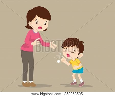 Mother And Sick Boy Coughing Hard,sick Child Blow The Nose And Coughing Show His Mom.