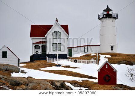 Wintery Nubbles Lighthouse