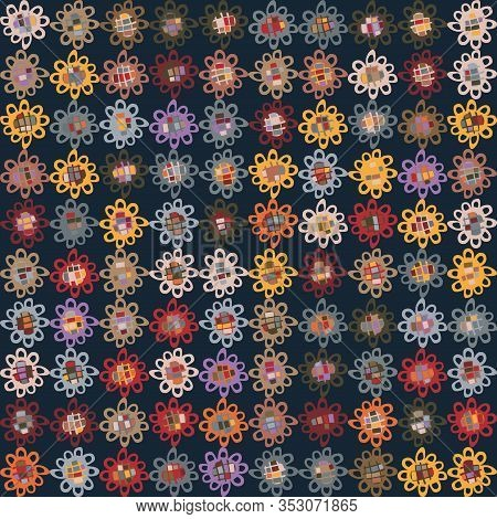 Dark Floral Doodle Daisy Vector Texture. Boho Flower Grid Seamless Stylised Pattern. Hand Drawn Colo