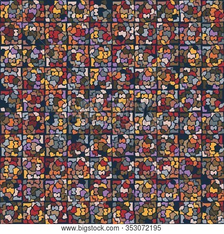 Dark Broken Mosaic Effect Vector Texture. Masculine Geometric Seamless Melange Pattern. Hand Drawn V
