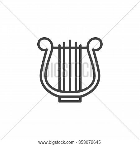Harp Music Instrument Line Icon. Linear Style Sign For Mobile Concept And Web Design. Lyre Music Out