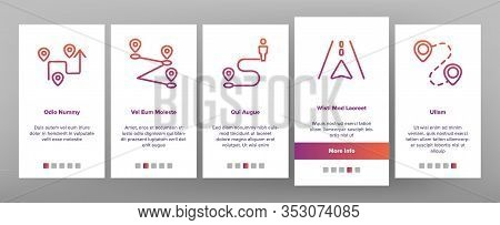 Route Gps Navigator Onboarding Icons Set Vector. Route Direction, Electronic Map Car Device And Phon