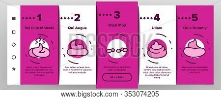 Poop Excrement Pile Onboarding Icons Set Vector. Smell Poop In Different Form, In Bag And Crossed Ma