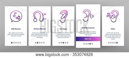 Hear Sound Aid Tool Onboarding Icons Set Vector. Hear Music Earphones And Dynamic, Hearing Device An