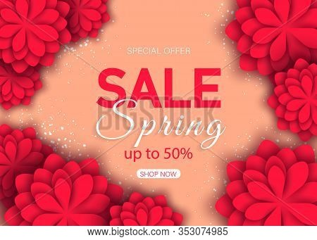 Sale banners spring. March 8 flower card. Holiday 3d background of red paper flower on orange backdrop with square frame. Trendy spring design template. Vector spring illustration. Spring banner, spring flyer, spring design, spring with flowers, Copy spac