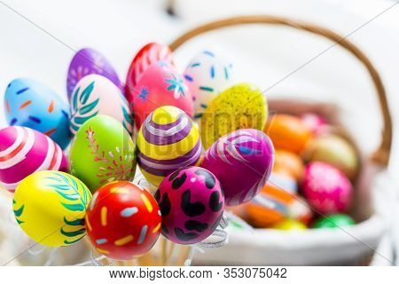 Easter Holiday Concept,colorful Easter Eggs In Egg Box,basket Easter Eggs On White Pastel Color Rust