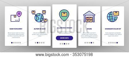 Export Global Logistic Onboarding Icons Set Vector. Truck Cargo And Ship With Container, Airplane An