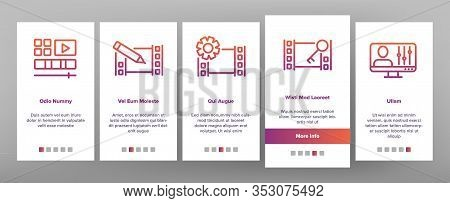 Video File Editing Onboarding Icons Set Vector. Video And Audio Edit, Cut And Bonding Media File, Se