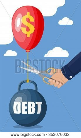 Businessman Hand With Scissors Cutting Debt Balloon String. Big Heavy Debt Weight With Shackles And