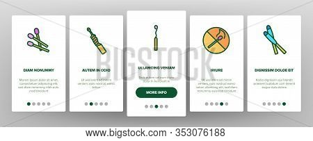 Match Burning Fire Onboarding Icons Set Vector. Burnt Wooden And Sulphur Match And Flame, Box And Pa