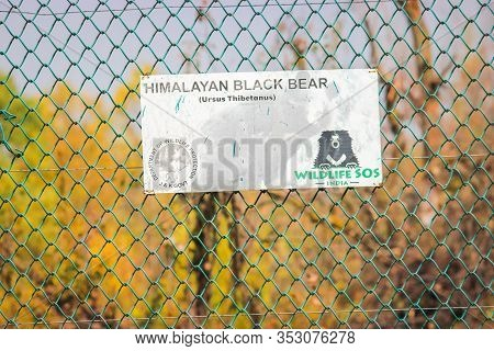 Srinagar, Jammu And Kashmir, India: Dated- July 31, 2019: A Signboard Reading Himalayan Brown Bear E