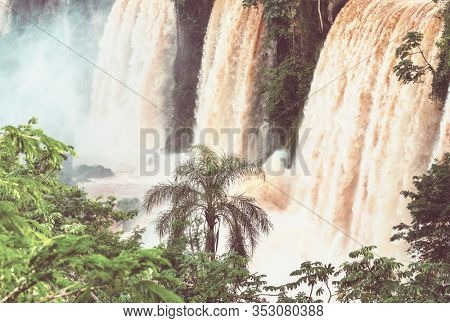 Impessive Iguassu (Iguazu) Falls on the Argentina - Brazil border, Instagram filter. Powerful waterfalls in the jungles.