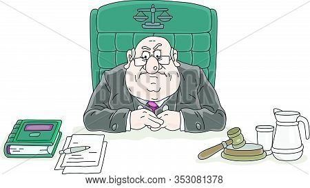 Angry Judge Sitting At His Desk With A Gavel And Documents At Judicial Hearing In Court Of Law, Vect