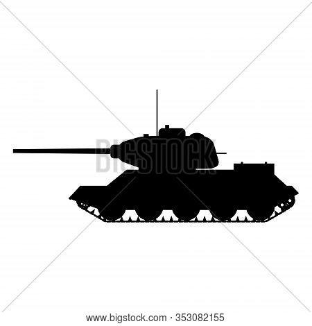 Silhouette Tank Soviet World War 2 T34 Medium Tank Icon. Military Army Machine War, Weapon, Battle S