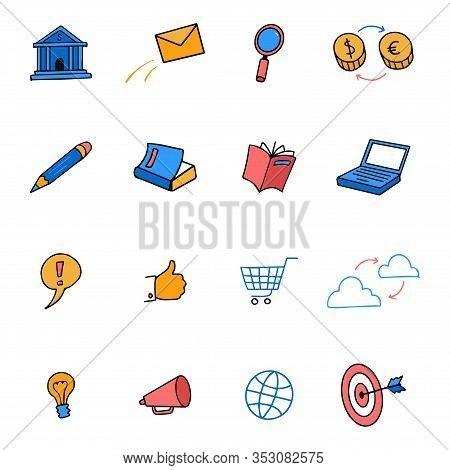 Cute Colored Doodle Icons Business, Marketing, E-commerce Set