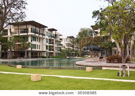 The pool side condominium