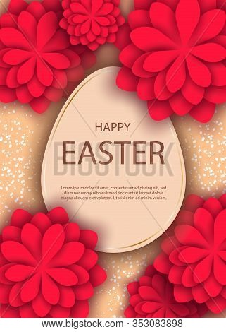 Happy Easter, easter bunny, easter background, easter banners, easter flyer, easter design,easter with flowers on red background, Copy space text area, vector illustration. Vector Easter illustration of gold and black abstract texture. Minimalistic black.