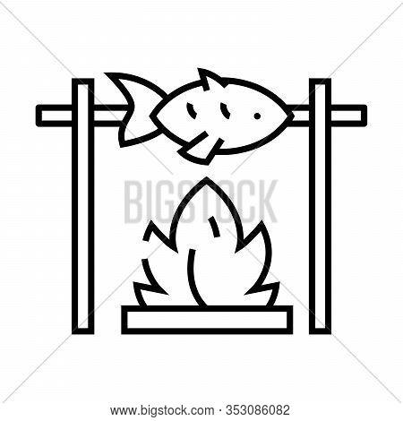 Fish On A Spit Line Icon, Concept Sign, Outline Vector Illustration, Linear Symbol.