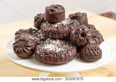 Delicious Chocolate Dietary Candies And Cookies For Vegans Made From Natural Ingredients. Tasty Trea