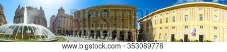 Genoa, Italy - September 11, 2019: Piazza Raffaele De Ferrari Square With Teatro Carlo Felice Theatr