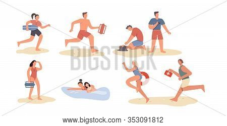 Set Of Cartoon Beach Lifeguard People Isolated