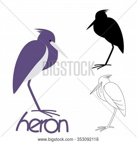 Heron Bird,vector Illustration,flat Style, Silhouette  And Lining Draw