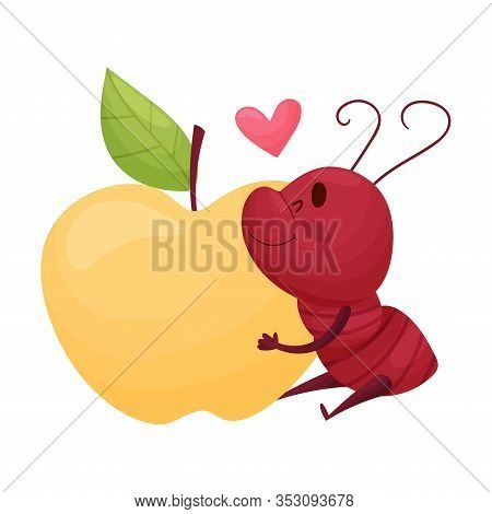 Cute Ant Character Hugging Big Apple Fruit Vector Illustration