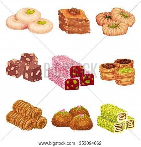 Arabic Sweets With Famous Baklava And Rahat Lakoum Vector Set